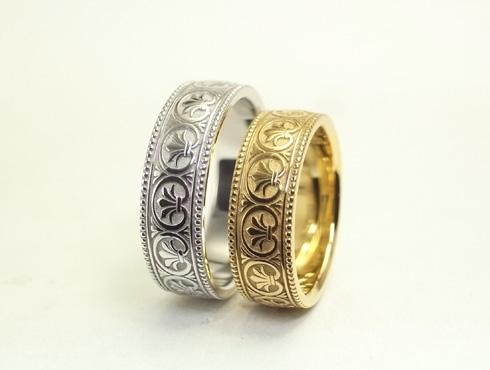 アンティーク風の結婚指輪(パルメット文様) 08