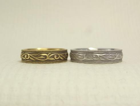 唐草模様(蔦、ツタ)の結婚指輪 03