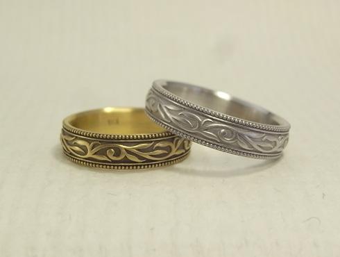 唐草模様(蔦、ツタ)の結婚指輪 05