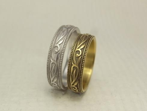 唐草模様(蔦、ツタ)の結婚指輪 06