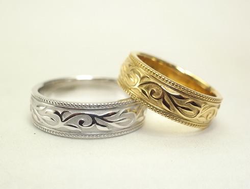 唐草模様(蔦、ツタ)の結婚指輪 07
