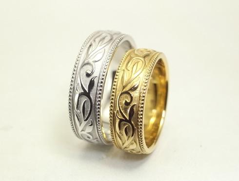 唐草模様(蔦、ツタ)の結婚指輪 08