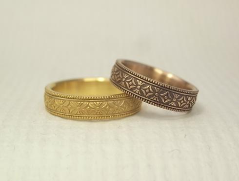 縁起の良い柄の結婚指輪 七宝柄 吉祥文様 03