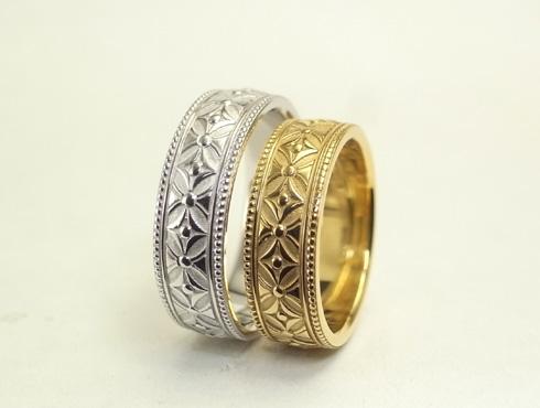 縁起の良い柄の結婚指輪 七宝柄 吉祥文様 09