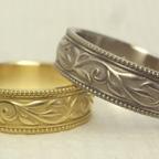 アンティーク調の唐草模様の結婚指輪