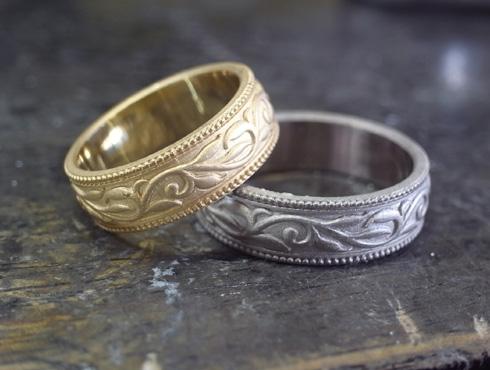 アンティーク調の唐草模様の結婚指輪 キャスト上がり