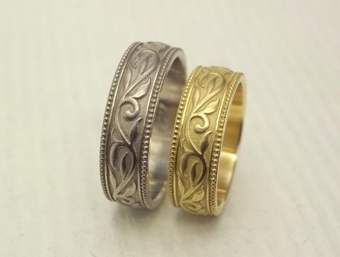 アンティーク調の唐草模様の結婚指輪 05