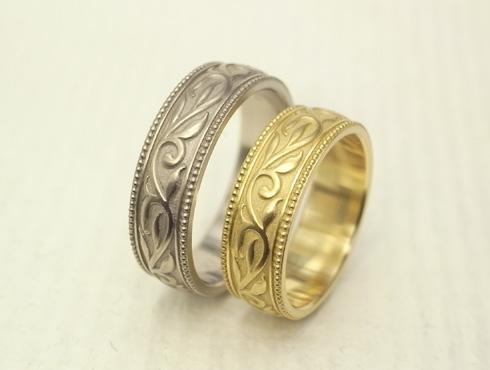 アンティーク調の唐草模様の結婚指輪 06
