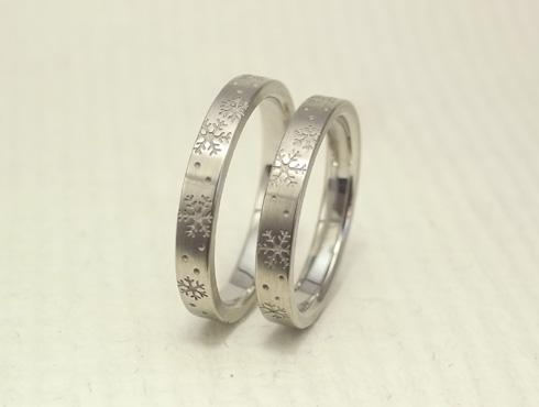 雪の結晶の結婚指輪 01