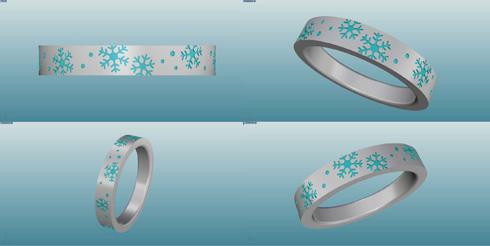 雪の結晶の結婚指輪のデザイン画 01