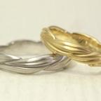 リング1周に葉が連なった結婚指輪