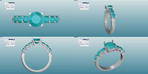シンプルな1ct のダイヤリング デザイン画