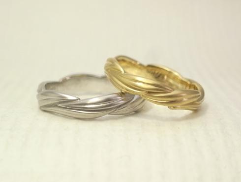 リング1周に葉が連なった結婚指輪 02