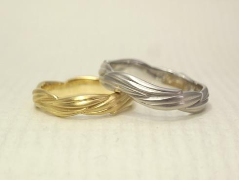 リング1周に葉が連なった結婚指輪 03