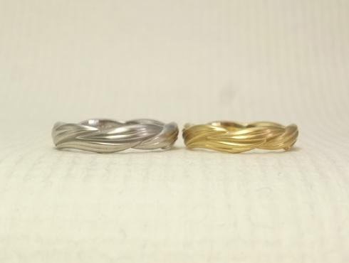 リング1周に葉が連なった結婚指輪 04