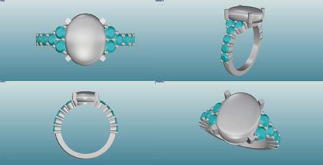 オパールとダイヤのリング デザイン画