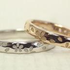 プラチナとピンクゴールドでさくら柄の結婚指輪を製作