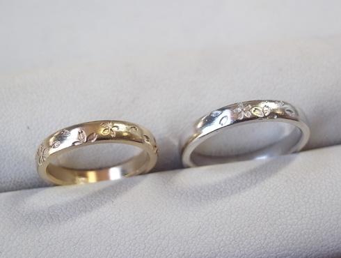 プラチナとピンクゴールドのさくら柄の結婚指輪 キャスト吹き上がり