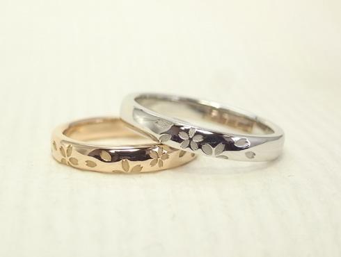 プラチナとピンクゴールドのさくら柄の結婚指輪 04