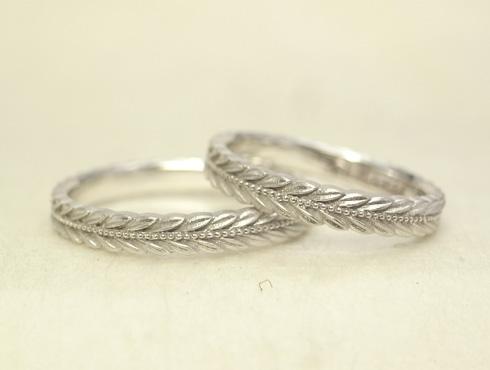 新型 月桂樹の結婚指輪 ミル打ち有り 01