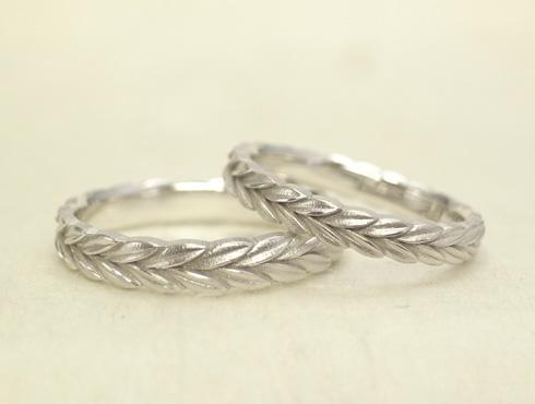 新型 月桂樹の結婚指輪 ミル打ちなし 01