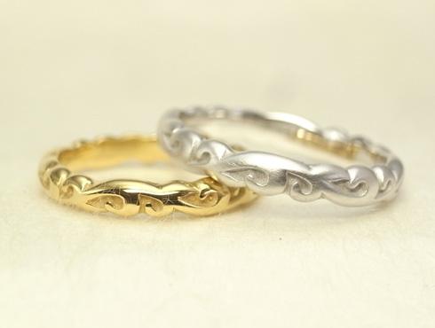 ふっくら立体的な唐草模様 結婚指輪 01