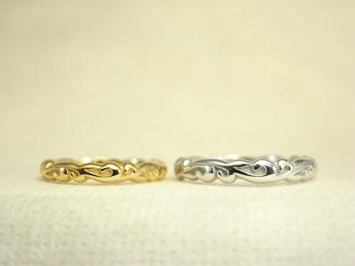 旧作のふっくら立体的な唐草模様 結婚指輪