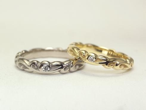 ふっくら立体的な唐草模様 結婚指輪 アレンジでダイヤ付