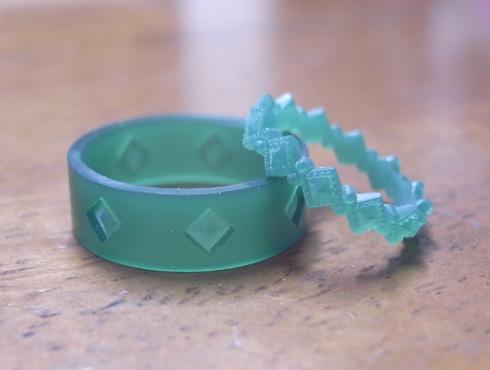ピラミッドスタッズ柄の結婚指輪のワックス 02
