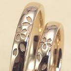 桜模様の結婚指輪をセミオーダーで製作