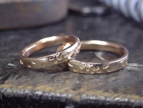 桜の模様の結婚指輪 製作過程 01