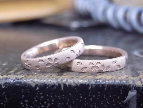 桜の模様の結婚指輪 製作過程 02
