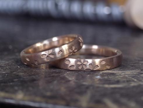 桜の模様の結婚指輪 製作過程 03