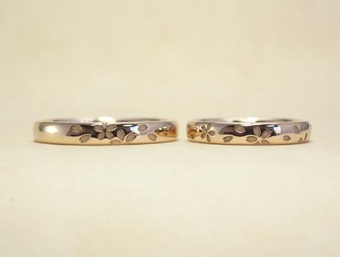 桜の模様の結婚指輪 セミオーダー 02