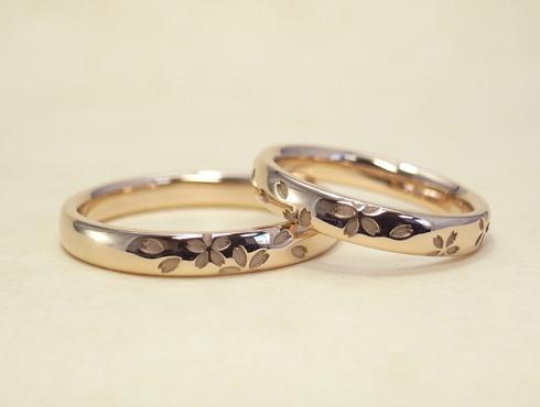桜の模様の結婚指輪 セミオーダー 03