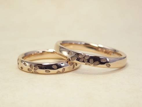 桜の模様の結婚指輪 セミオーダー 04
