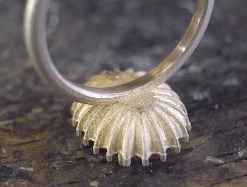 オパール付のダイヤ取り巻きリング 製作過程 02