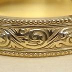 繊細な唐草模様のアンティーク調 結婚指輪(18K)