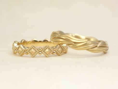 オーダージュエリーで製作した結婚指輪 05