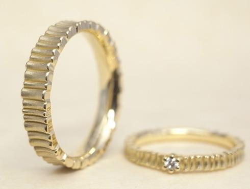 樹木柄の個性的な結婚指輪 02