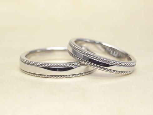 アレンジで大きなミル打ちに変更した結婚指輪 08