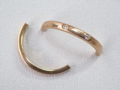 切断されたカルティエ(cartier)の結婚指輪のサイズ直しと修理 01